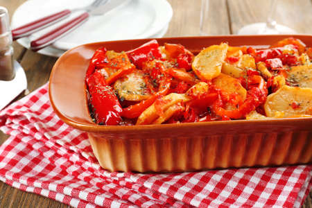 ragout: Vegetable ragout on table, close-up