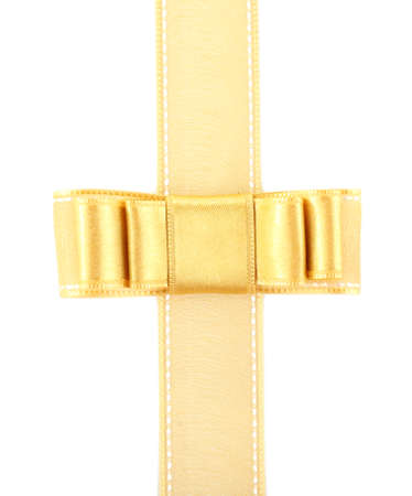 yellow ribbon: Golden ribbon and bow isolated on white