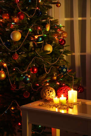 Cozy Christmas interior with decorated Christmas tree photo
