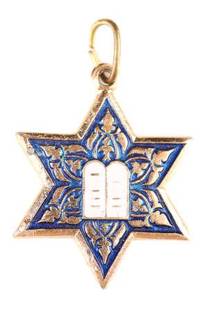 stella di davide: Stella di David ciondolo isolato su bianco Archivio Fotografico