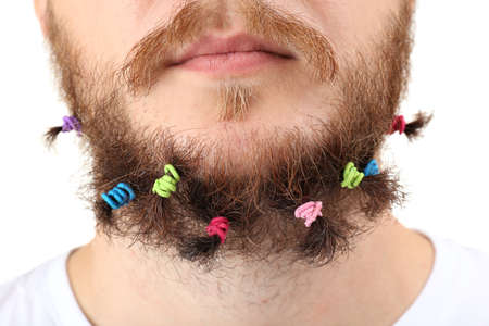 scrunchy: Long beard of scrunchy isolated on white