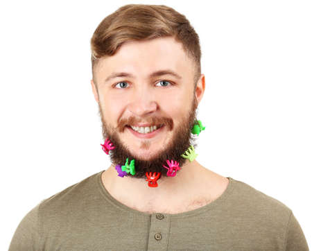 barrettes: Portrait of handsome man with beard of barrettes isolated on white