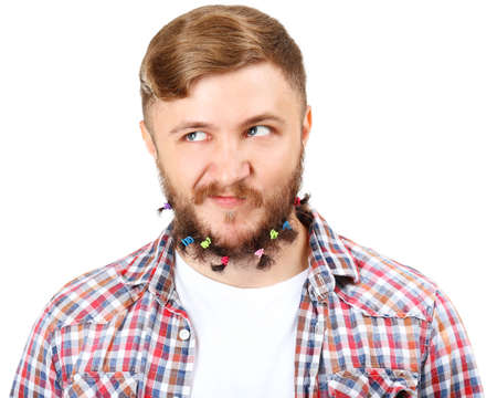 scrunchy: Portrait of handsome man with beard of scrunchy isolated on white Stock Photo