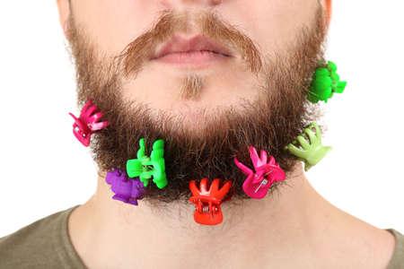 barrettes: Lunga la barba di mollette isolato su bianco Archivio Fotografico