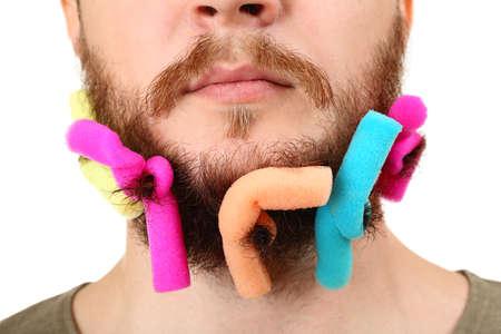 long beard: Long beard of curlers isolated on white Stock Photo