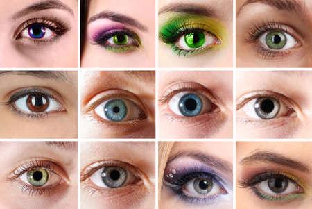 lentes de contacto: Collage de diferentes fotografías que muestran los ojos