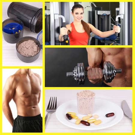 sportsmen: Collage of sportsmen and sport nutrition