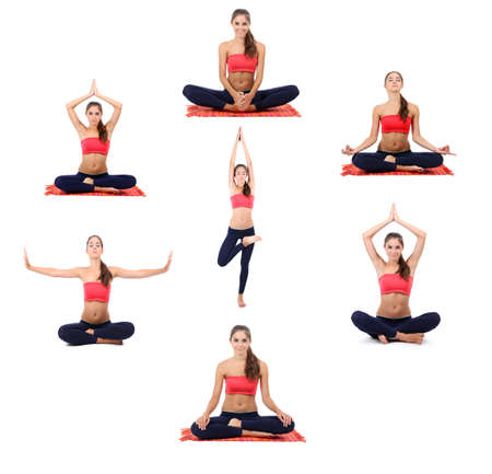 yoga pose: Collage of young beautiful fitness girl doing yoga exercise isolated on white