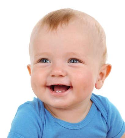 infant: Beb� lindo aislado en blanco Foto de archivo