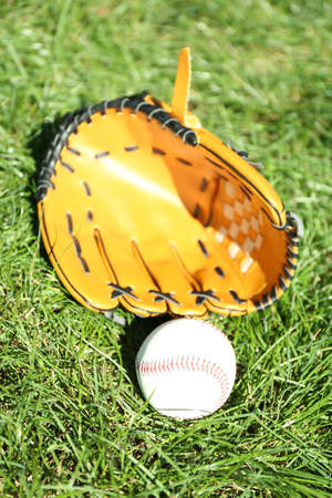 outfield: Baseball bat, ball and glove on green grass background