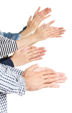 manos aplaudiendo: Aplaudiendo manos aisladas en blanco Foto de archivo