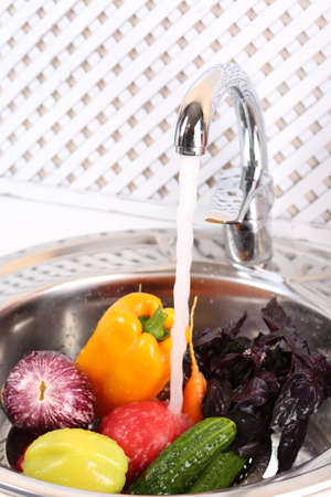Washing vegetables, close-up photo