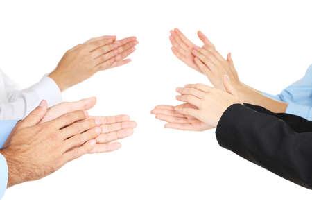 manos aplaudiendo: Aplaudir las manos aisladas en blanco Foto de archivo