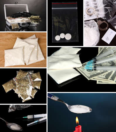 Drug addiction collage photo