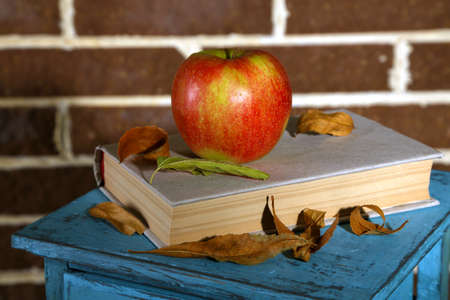 Apple with books and dry leaves on wooden stand on brick background photo
