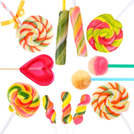 Colorful lollipops isolated on white photo