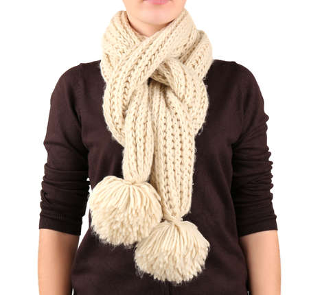 variation: Woman wearing scarf close up