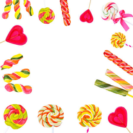 lolli: Frame of colorful lollipops isolated on white