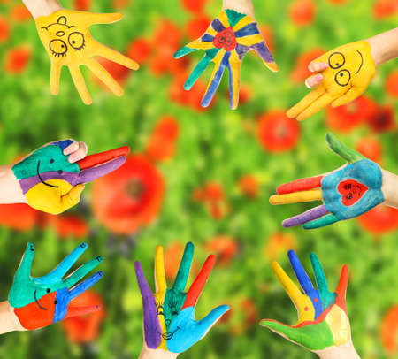 painted hands: Painted hands on bright background