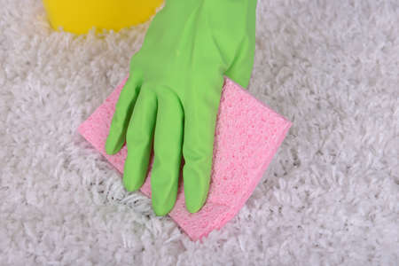 Cleaning carpet with cloth close up photo