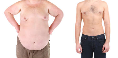 weight loss man: Health and fitness concept. Before and after weight loss by man.