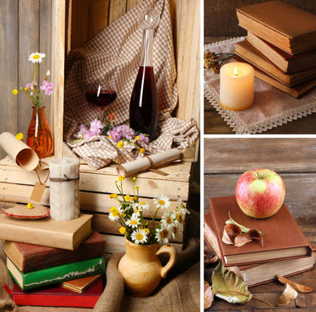Collage of many old books photo