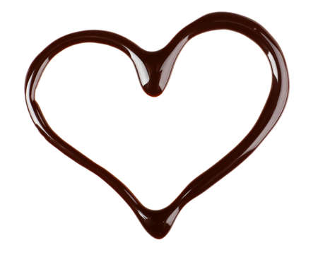 Chocolate syrup drips in shape of heart isolated on white Stockfoto
