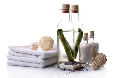 Spa setting on table on light background photo