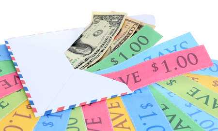 miser: Set of cut coupons for shopping to save money
