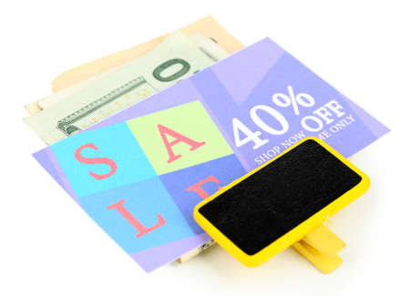 Set of cut coupons for shopping to save money, isolated on white photo