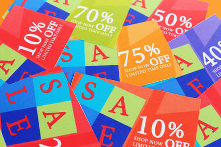 Set of coupons for shopping to save money photo