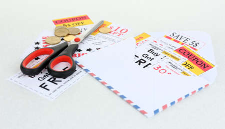 Set of cut coupons with scissors and envelope  photo