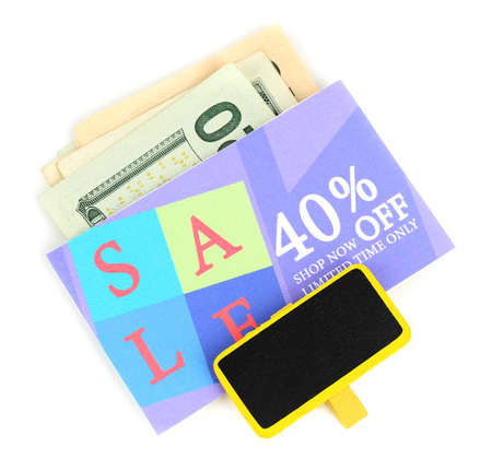Clipped cut coupon and money photo