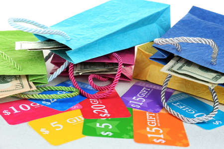 Set of coupons for shopping to save money, close-up photo