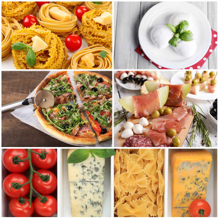 Collage of tasty Italian food photo