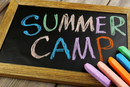 child school: Text Summer camp written with chalk on chalkboard, and some chalk sticks of different colors