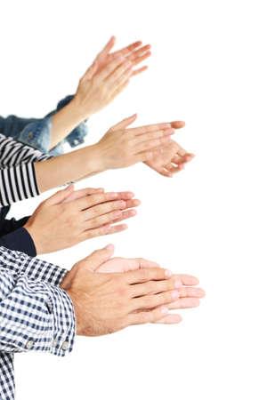 Klatschende Hände isoliert auf weiß