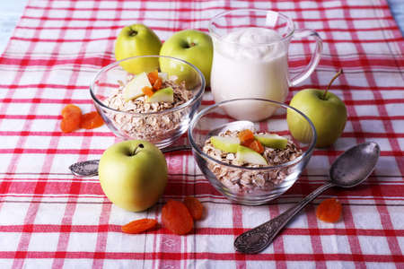 Oatmeal in bowls, yogurt and apples on checkered fabric background photo