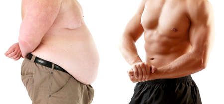 fats: Health and fitness concept. Before and after weight loss by man.