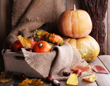 Pumpkins in box on sackcloth on wooden table on wooden wall background photo