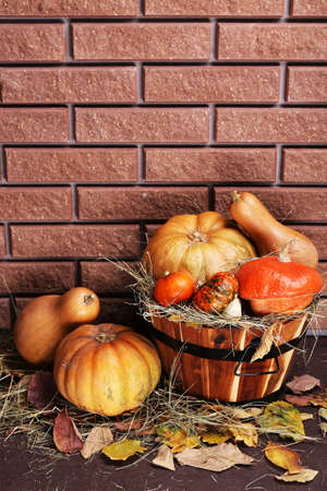 Pumpkins in wooden tub on floor on brick wall background photo