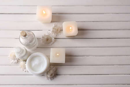 spa candles: Spa setting on wooden table