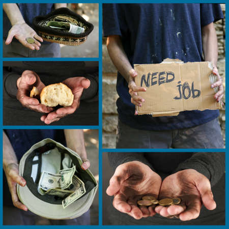 Poverty concept. Homeless men ask for help collage photo