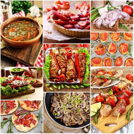 Heerlijke zelfgemaakte gerechten collage Stockfoto