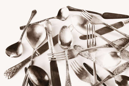 disordered: Old disordered tableware closeup