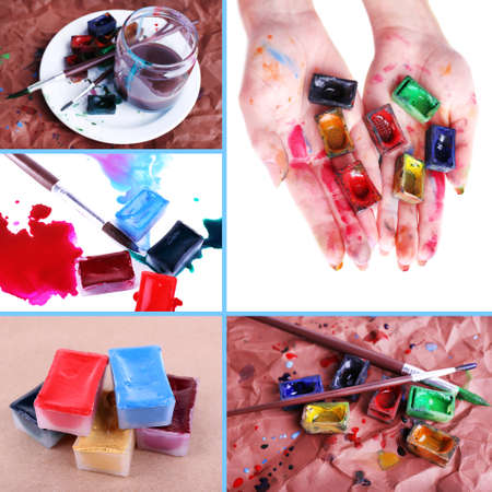 paints: Collage of watercolor paints