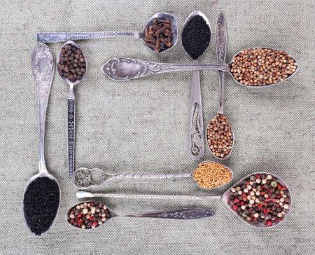 seasonings: Seasonings in metal spoons on fabric background