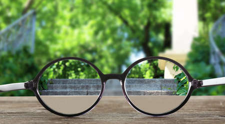 clear day: Vision concept. Glasses on green