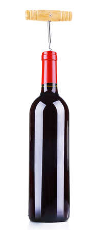 Bottle of great wine isolated on white photo
