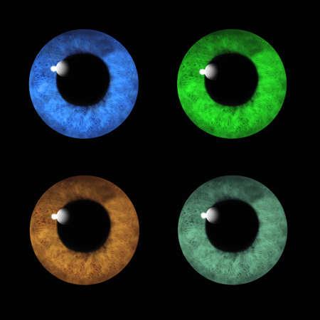 Human eyes macro collage on black  photo